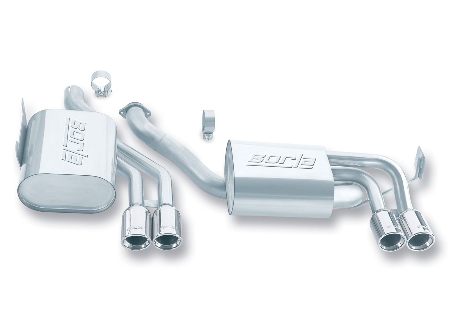 "Bmw M3 E46 2001-2006 Borla 2.5"", 1.75"" Cat-Back Exhaust System - Dual Round Rolled Angle-Cut"