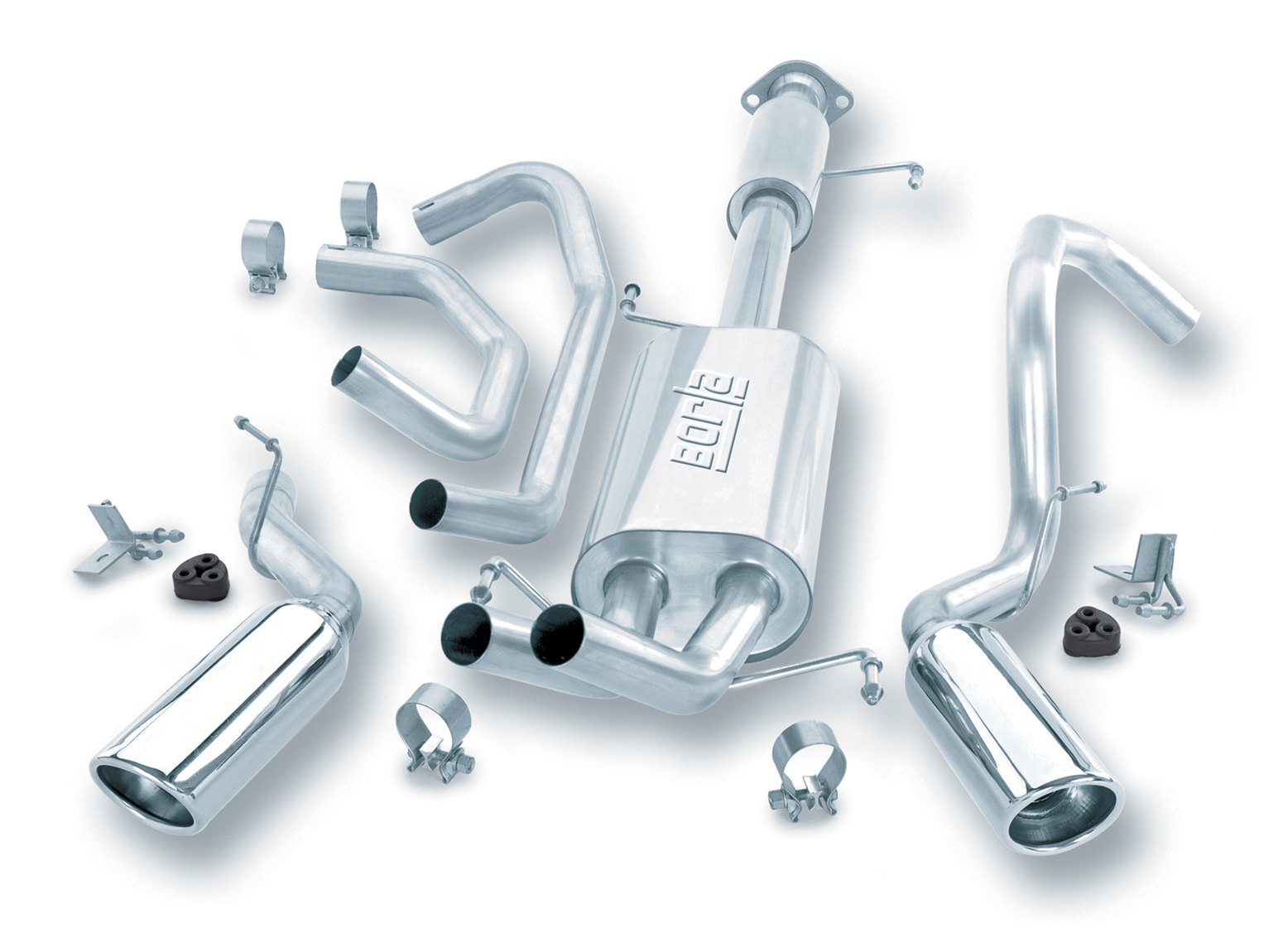 "Toyota 4Runner  2003-2004 Borla 2.5"", 2"" Cat-Back Exhaust System - Single Round Rolled Angle-Cut Lined Resonated"