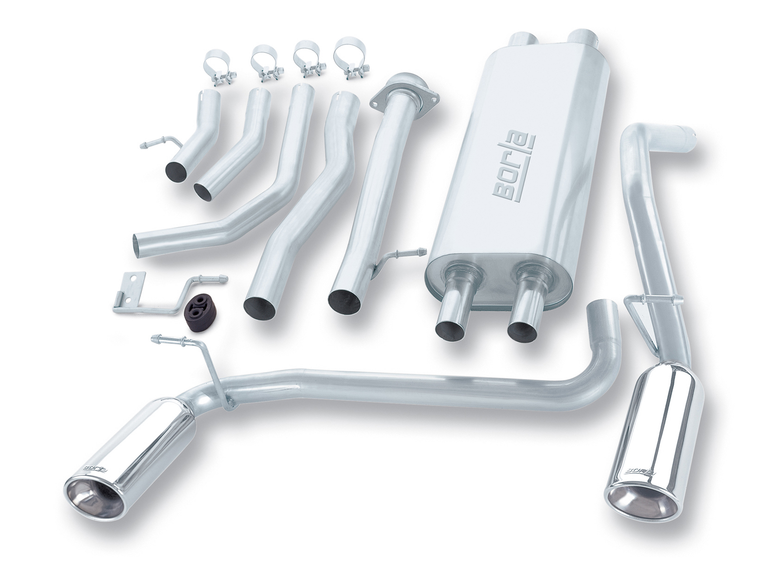"Hummer H2 Suv/Sut 2003-2006 Borla 2.5"", 2"" Cat-Back Exhaust System - Single Oval Rolled Angle-Cut Lined Resonated"