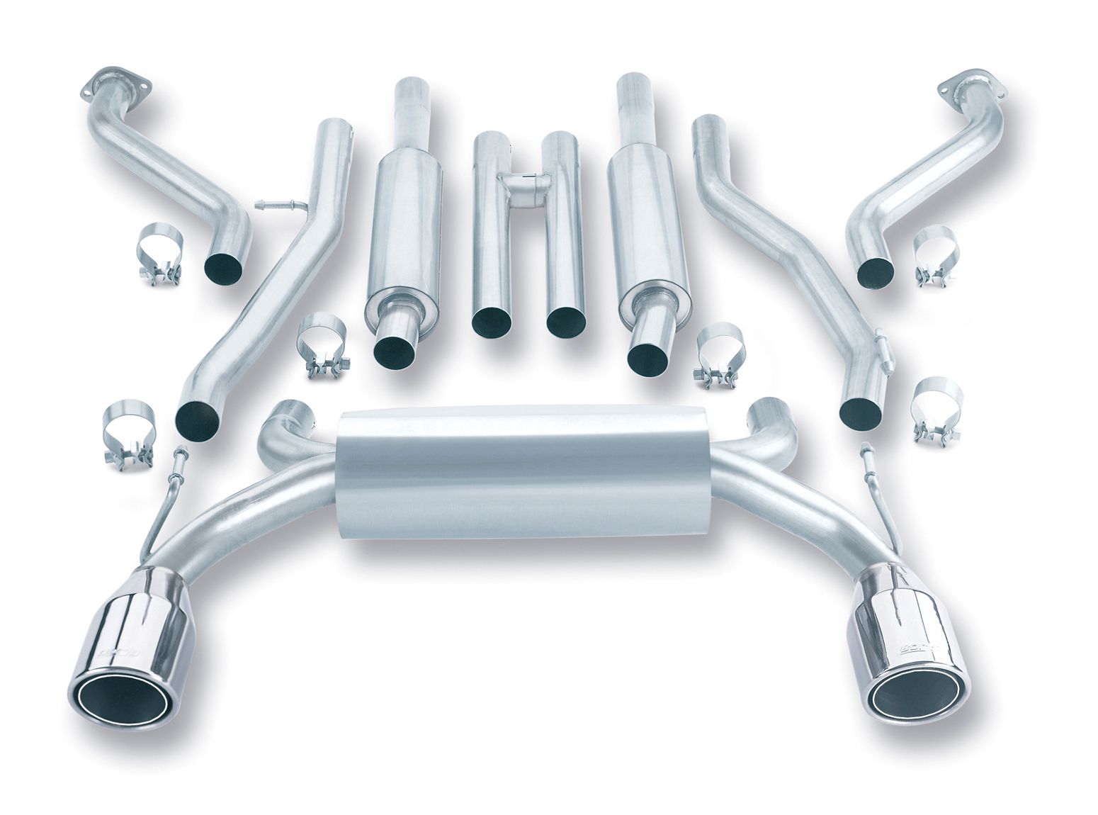 Nissan 350Z  2003-2008 Borla 2.25&#34;, 2&#34; True Dual Cat-Back Exhaust System - Single Round Rolled Angle-Cut Phantom