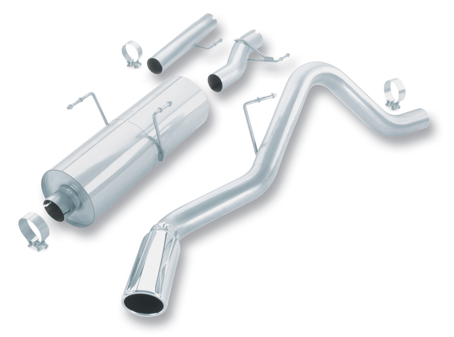 "Dodge Ram 1500 5.7l V8 Hemi 2003-2005 Borla 3"" Cat-Back Exhaust System - Single Round Rolled Angle-Cut  Long X Single Round Rolled Angle-Cut Intercooled Tips"" Dia"