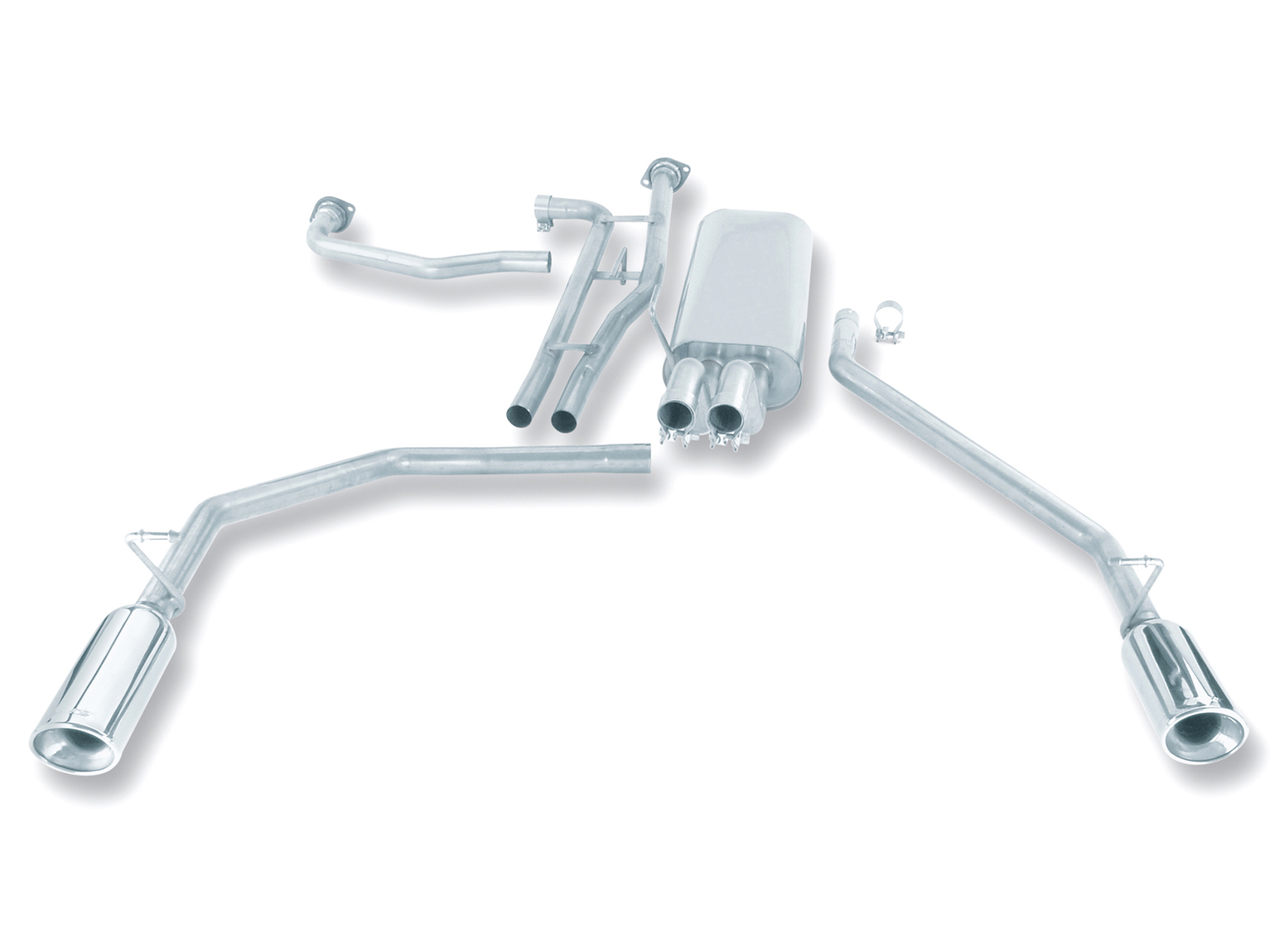 "Nissan Titan  2004-2011 Borla 2"" Cat-Back Exhaust System - Single Oval Rolled Angle-Cut Lined Resonated"