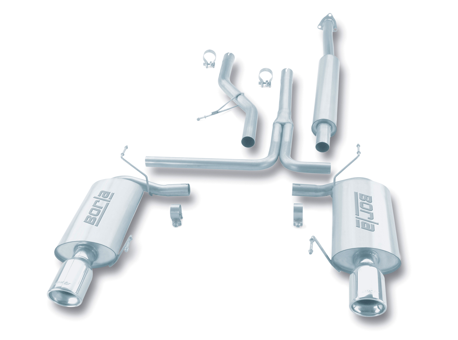 "Honda Accord 3.0l V6 2003-2005 Borla 2.5"", 1.75"" Cat-Back Exhaust System - Single Round Rolled Angle-Cut Lined"
