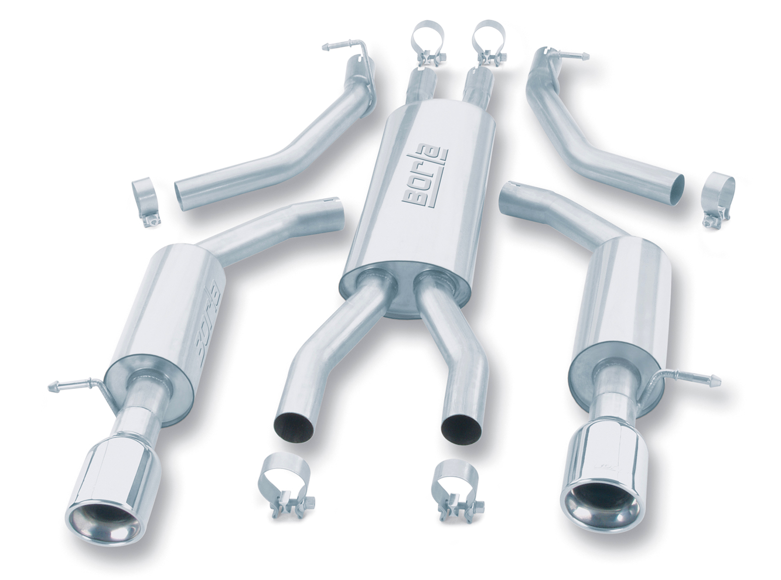 "Ford Thunderbird  2003-2003 Borla 2.25"", 2"" Cat-Back Exhaust System - Single Round Rolled Angle-Cut Lined"