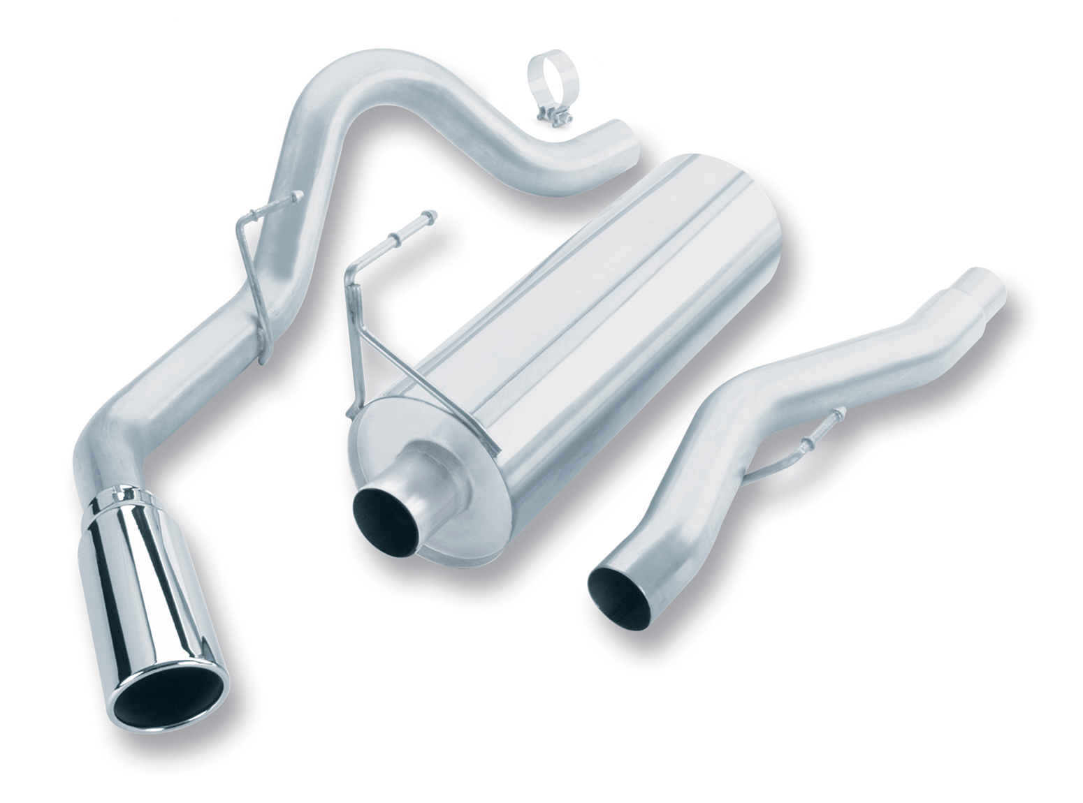"Ford F150  2004-2004 Borla 3"" Cat-Back Exhaust System - Single Round Rolled Angle-Cut  Long X Single Round Rolled Angle-Cut Intercooled"" Dia"