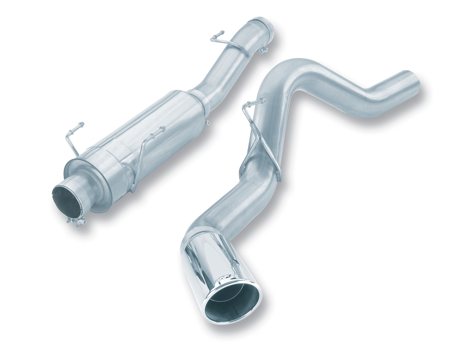 "Dodge Ram 2500/3500 5.9l 6cyl Diesel 2004-2007 Borla 4"" Cat-Back Exhaust System - Single Round Rolled Angle-Cut Single Square Angle-Cut Phantom Tips"" Long X Single Round Rolled Angle-Cut Phantom Tips"" Dia"