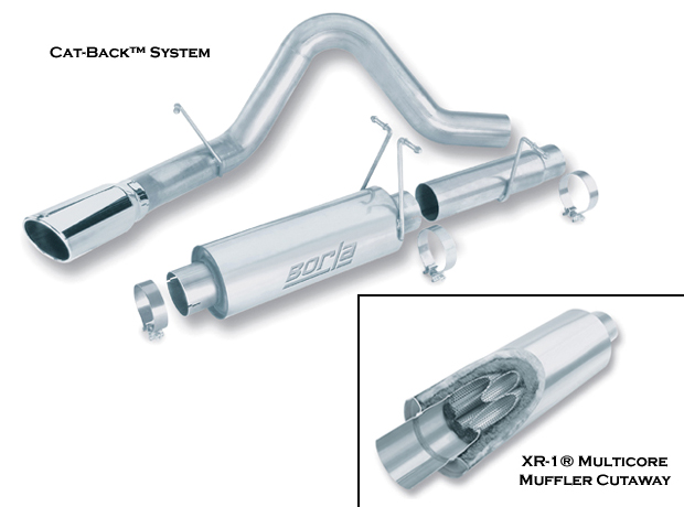 "Ford Super Duty Diesel F-250/350 2003-2006 Borla 4"" Cat-Back Exhaust System - Single Round Rolled Angle-Cut Single Square Angle-Cut Phantom"" Long X Single Round Rolled Angle-Cut Phantom"" Dia"