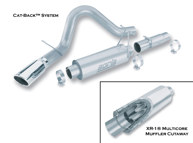 "Ford Super Duty Diesel F-250/350 1999-2002 Borla 4"" Cat-Back Exhaust System - Single Round Rolled Angle-Cut Single Square Angle-Cut Phantom"" Long X Single Round Rolled Angle-Cut Phantom"" Dia"