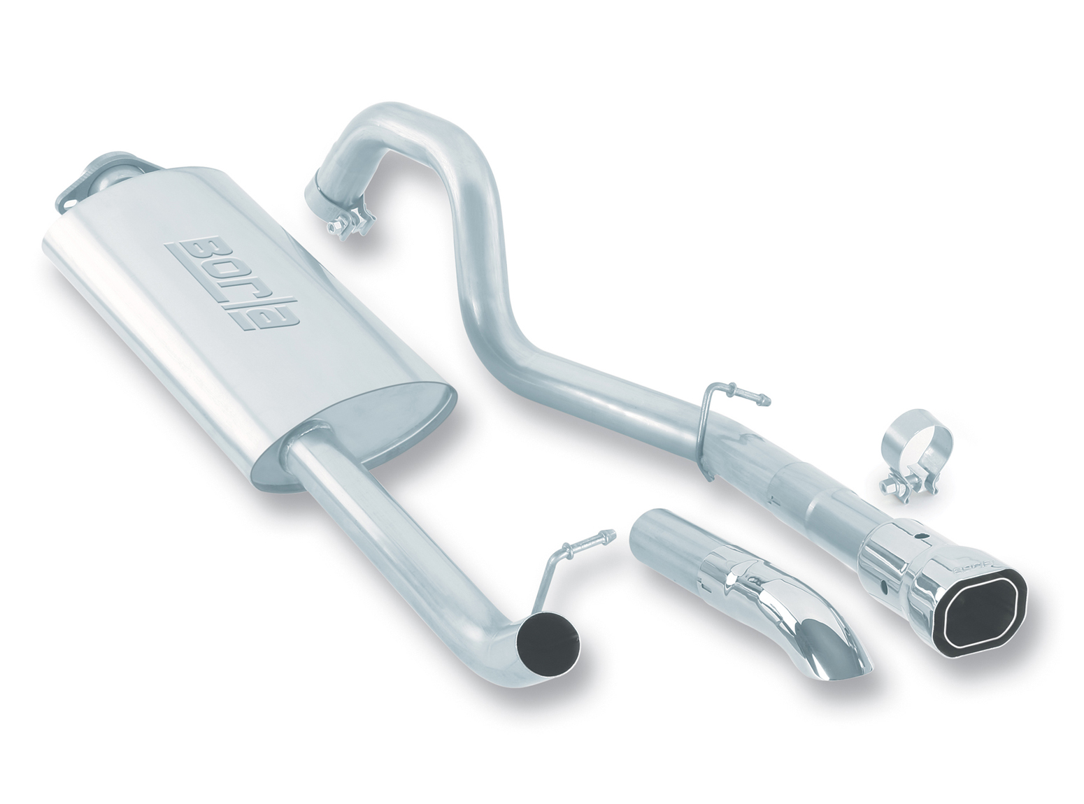 "Jeep Wrangler 4.0l 6cyl Unlimited 2004-2006 Borla 2.25"" Cat-Back Exhaust System - Single Square Angle-Cut Phantom Tips"