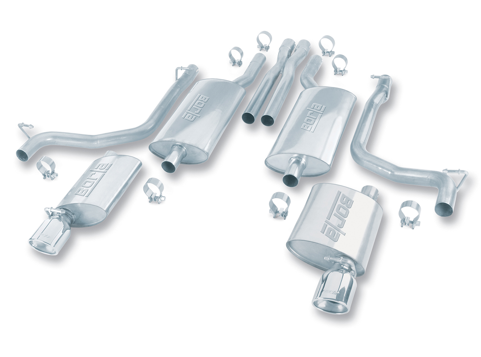 "Chrysler 300C 5.7l V8 2005-2010 Borla 2.25"", 2.5"" Cat-Back Exhaust System - Single Oval Rolled Angle-Cut Tips"