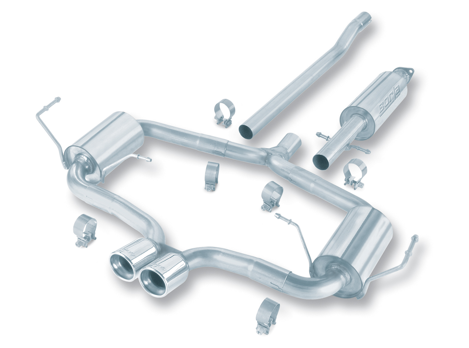 "Mini Cooper S 2004-2006 Borla 2.25"", 2"" Cat-Back Exhaust System ""s-Type"" - Dual Round Rolled Angle-Cut"