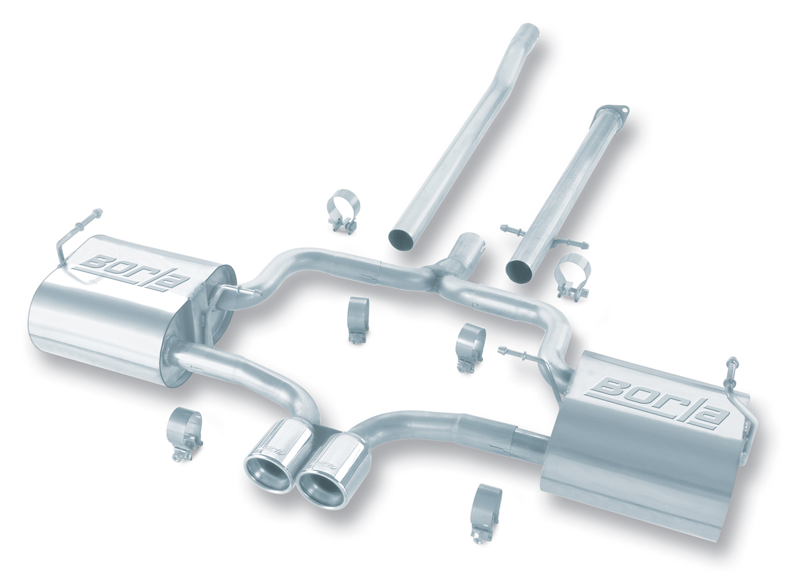 "Mini Cooper S 2004-2006 Borla 2.25"", 2"" Cat-Back Exhaust System - Dual Round Rolled Angle-Cut"