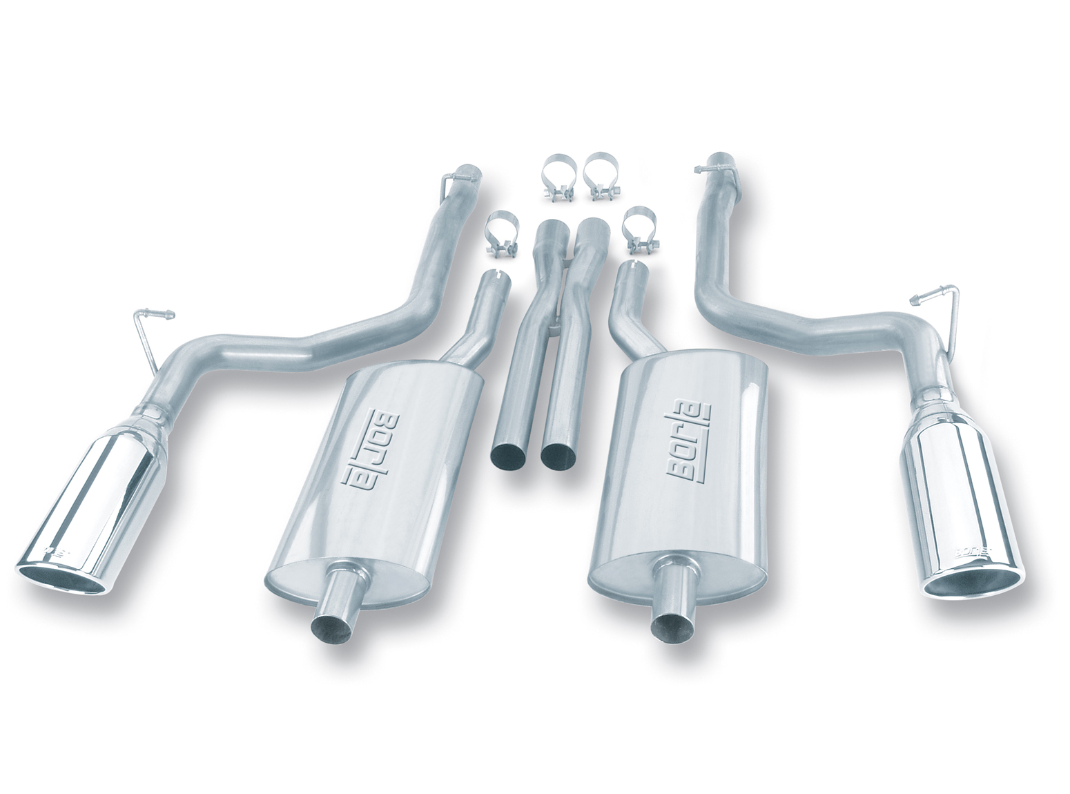 "Dodge Charger Rt 5.7l V8 2005-2010 Borla 2.5"", 2.25"" Cat-Back Exhaust System - Single Round Rolled Angle-Cut Single Square Angle-Cut Phantom Tips"" Long X Single Round Rolled Angle-Cut Phantom Tips"" Dia"