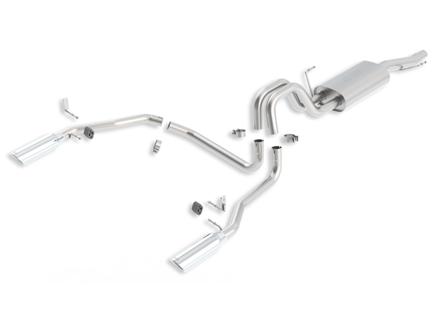 "Ford F150  2004-2008 Borla 2.5""/3"", 2.25"" Cat-Back Exhaust System - Single Round Rolled Angle-Cut  Long X Single Round Rolled Angle-Cut Intercooled"" Dia"
