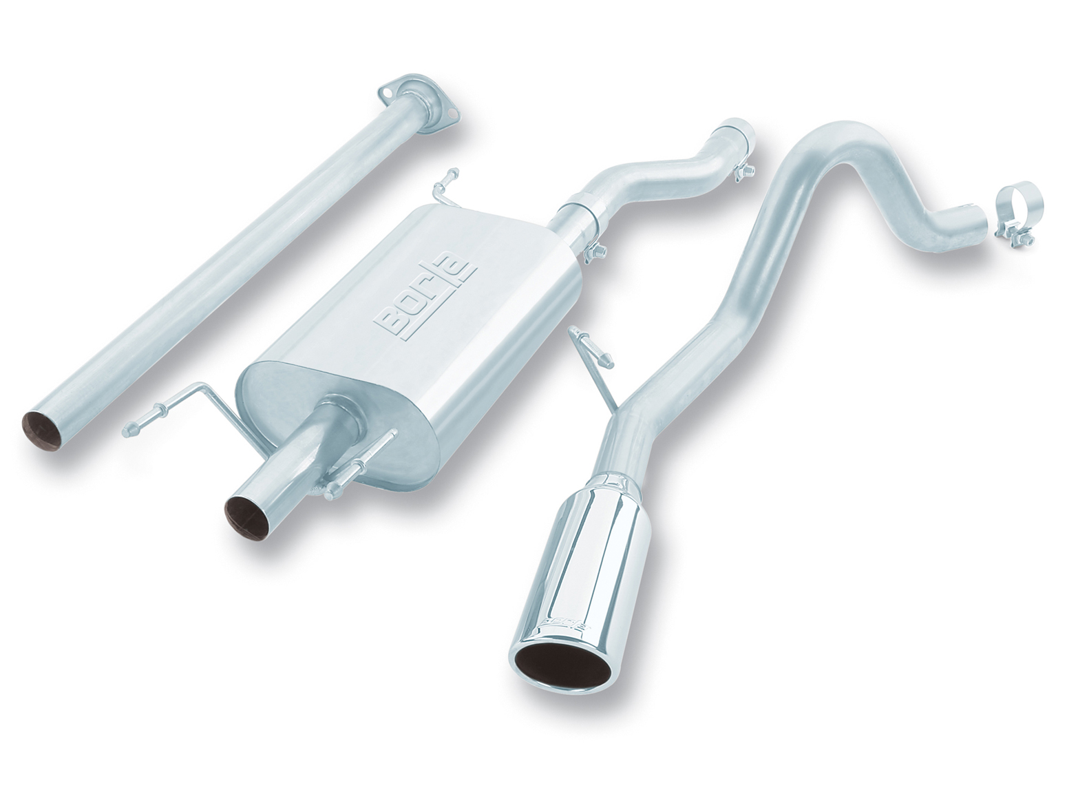 "Toyota Tacoma 4dr 2005-2011 Borla 2.25"" Cat-Back Exhaust System - Single Round Rolled Angle-Cut  Long X Single Round Rolled Angle-Cut Intercooled"" Dia"