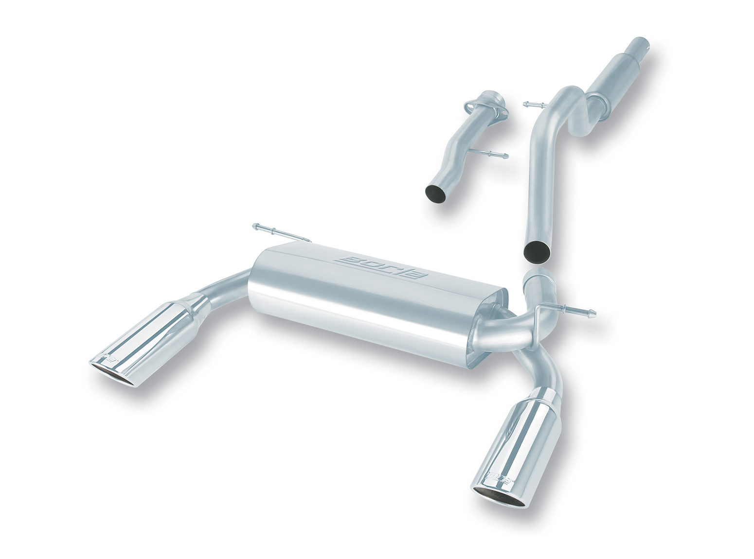 "Hummer H3  2006-2007 Borla 2.5"", 2.25"" Cat-Back Exhaust System - Single Round Rolled Angle-Cut  Long X Single Round Rolled Angle-Cut Intercooled"" Dia"