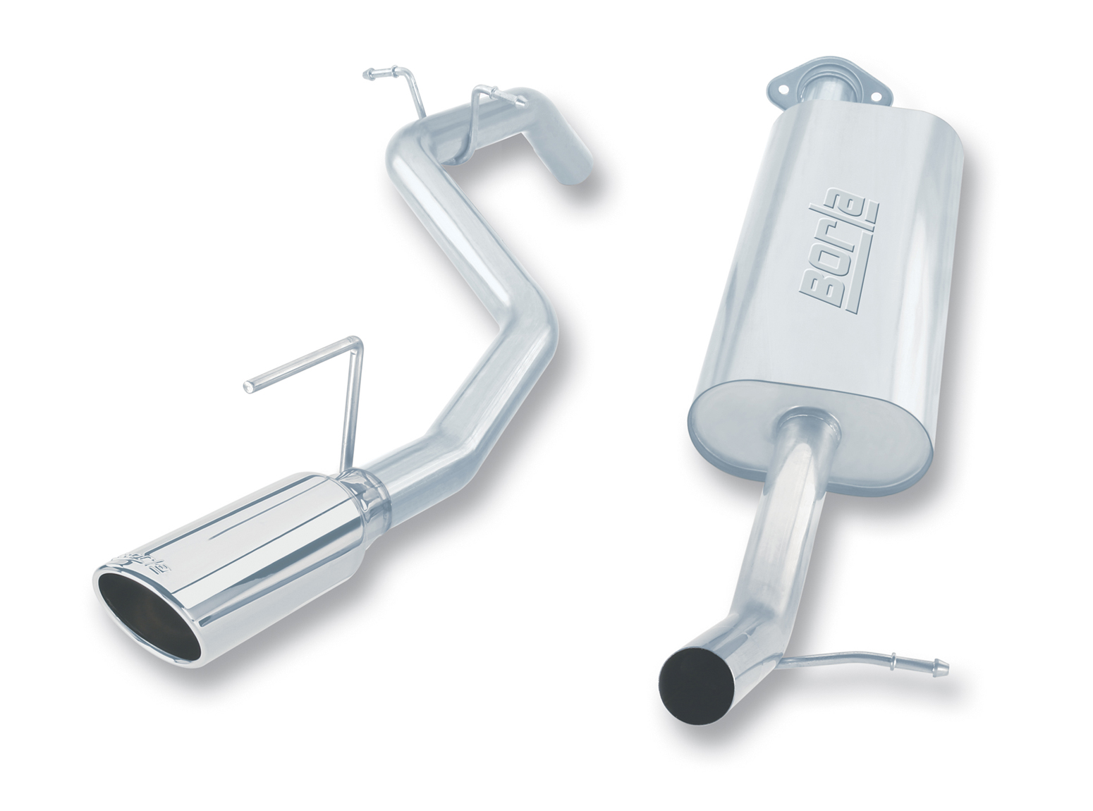 "Jeep Commander 4.7l/5.7l V8 2006-2010 Borla 3"", 2.5"" Cat-Back Exhaust System - Single Round Rolled Angle-Cut  Long X Single Round Rolled Angle-Cut Intercooled Tips"" Dia"
