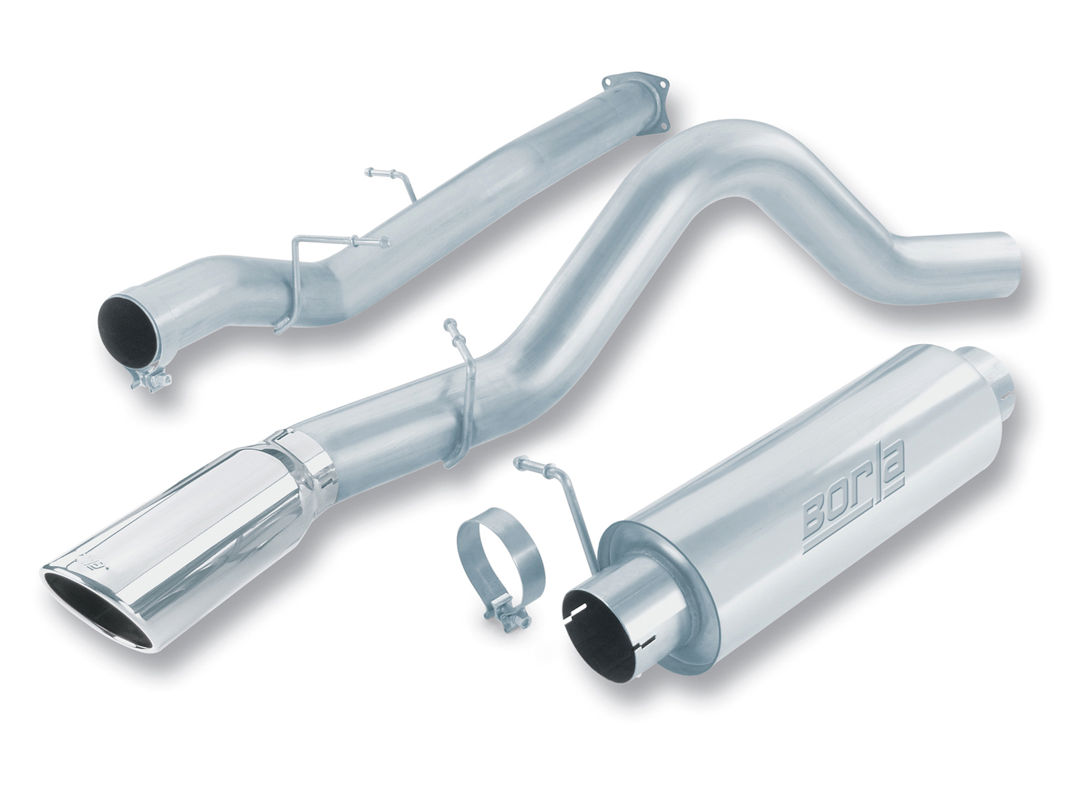 "Gmc Sierra Diesel 2500/3500 2006-2007 Borla 4"" Cat-Back Exhaust System - Single Round Rolled Angle-Cut Single Square Angle-Cut Phantom"" Long X Single Round Rolled Angle-Cut Phantom"" Dia"
