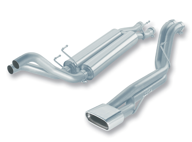 Dodge Ram SRT-10 8.3l V10 2006-2006 Borla 2.5&#34; Cat-Back Exhaust System - Single Rectangle Rolled Angle-Cut Tips