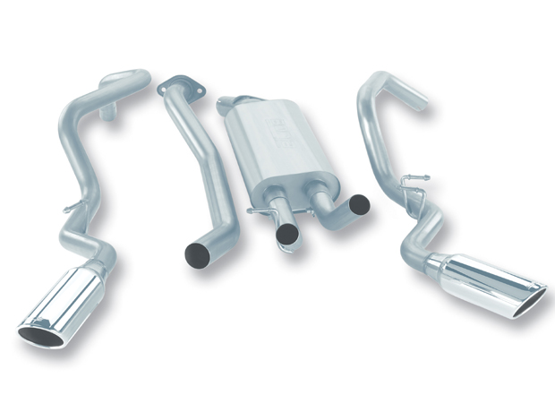 "Chevrolet Silverado 1500 2005-2006 Borla 3"", 2.25"" Cat-Back Exhaust System - Single Round Rolled Angle-Cut  Long X Single Round Rolled Angle-Cut Intercooled"" Dia"