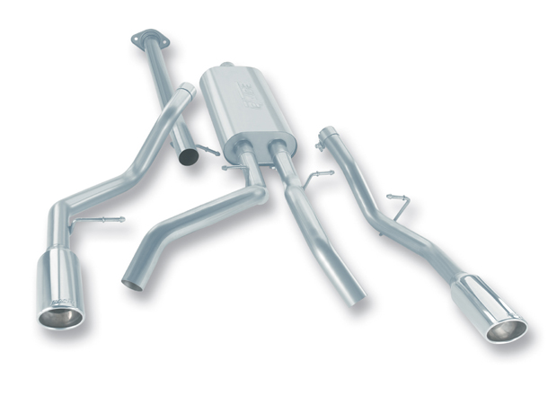 "Chevrolet Silverado 1500 2007-2008 Borla 2.75"", 2.25"" Cat-Back Exhaust System - Single Round Rolled Angle-Cut  Long X Single Round Rolled Angle-Cut Intercooled"" Dia"