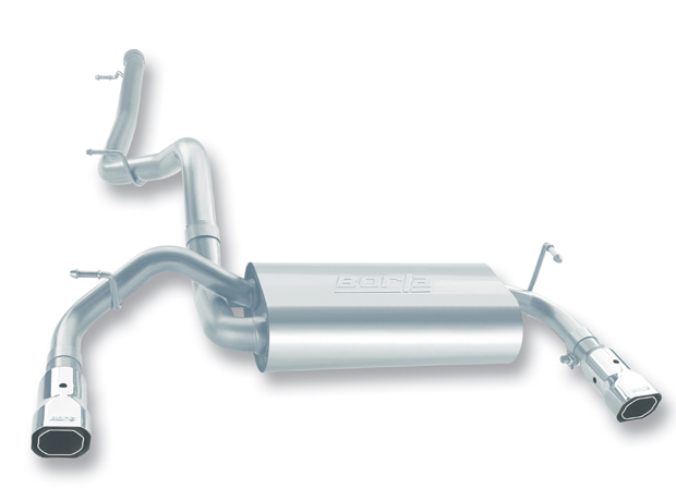 "Jeep Wrangler 3.8l V6 2007-2011 Borla 2.5"", 2"" Cat-Back Exhaust System - Single Square Angle-Cut Phantom Tips"