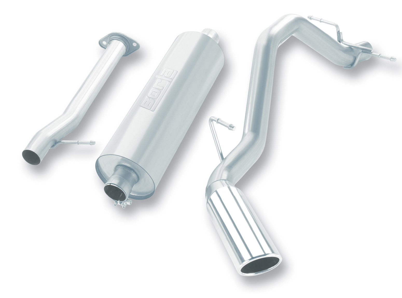 "Chevrolet Silverado 1500 2007-2008 Borla 2.75"" Cat-Back Exhaust System - Single Round Rolled Angle-Cut  Long X Single Round Rolled Angle-Cut Intercooled"" Dia"