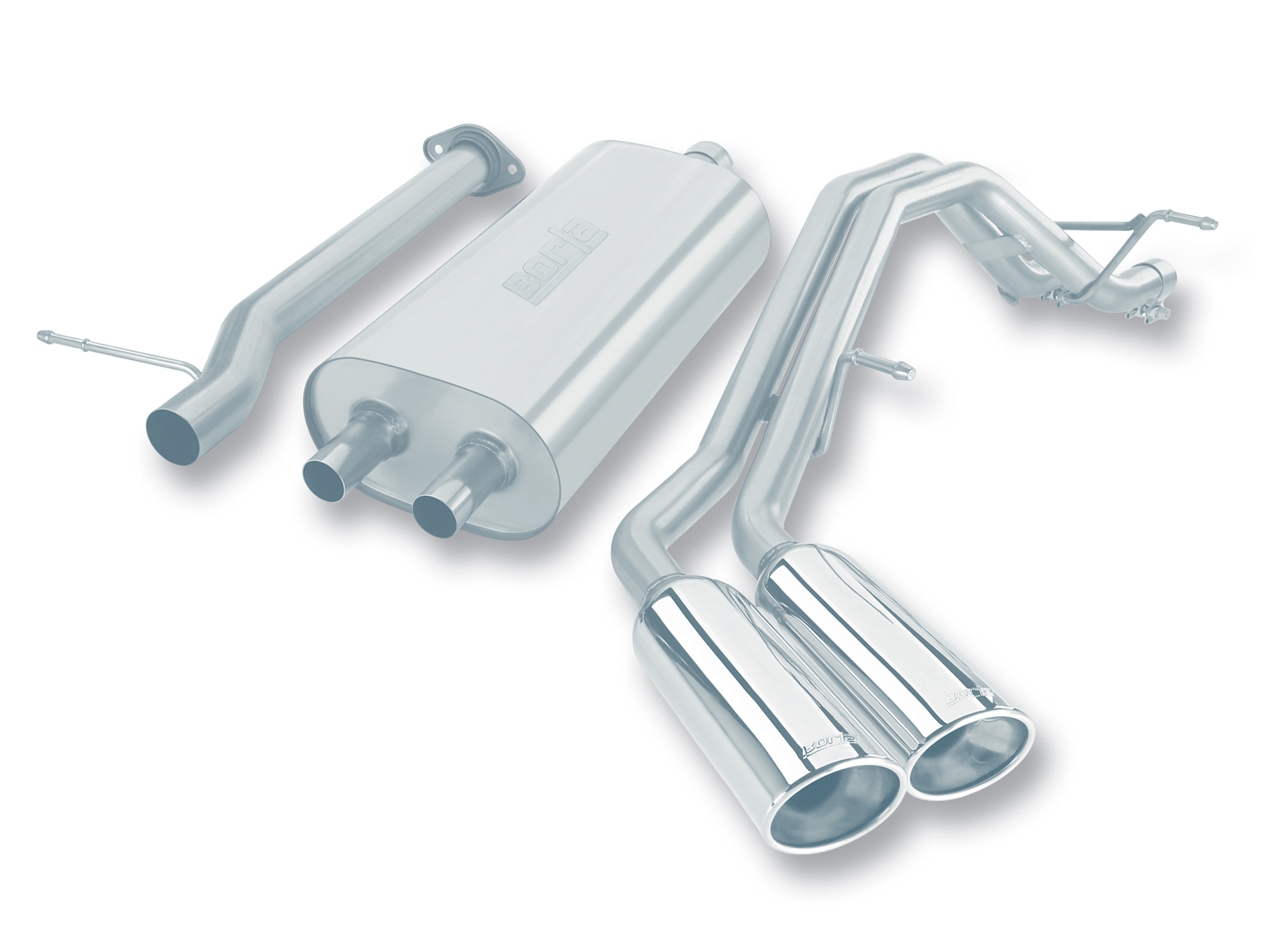 "Gmc Yukon Xl 1500 2007-2008 Borla 2.75"", 2"" Cat-Back Exhaust System - Dual Oval Rolled Angle-Cut"