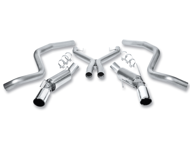 "Ford Mustang Shelby Gt 500 2005-2009 Borla 3"" Cat-Back Exhaust System  W/X-Pipe - Single Round Rolled Angle-Cut  Long X Single Round Rolled Angle-Cut Intercooled"" Dia"