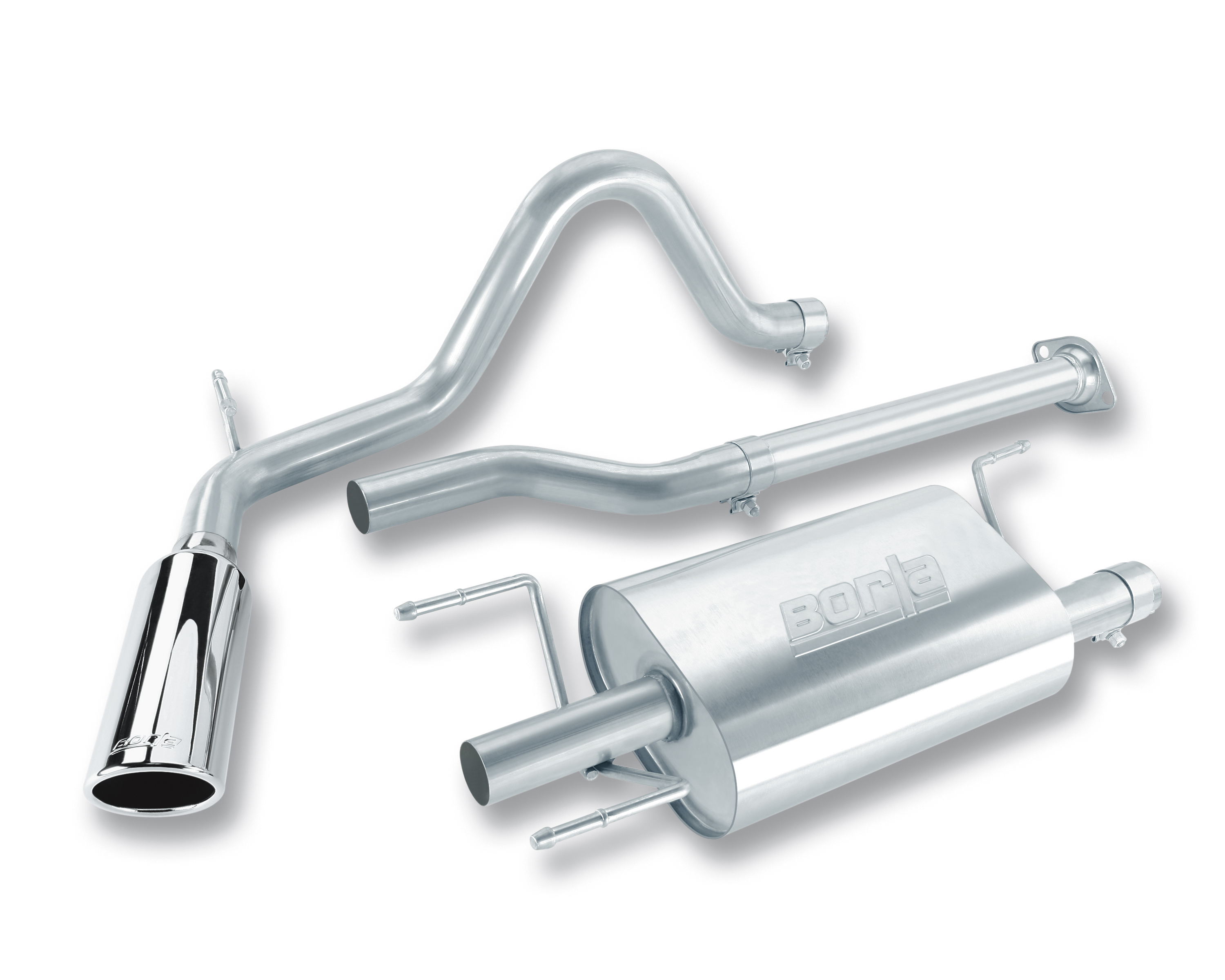 "Toyota Tacoma 2dr 2005-2009 Borla 2.25"" Cat-Back Exhaust System - Single Round Rolled Angle-Cut  Long X Single Round Rolled Angle-Cut Intercooled"" Dia"