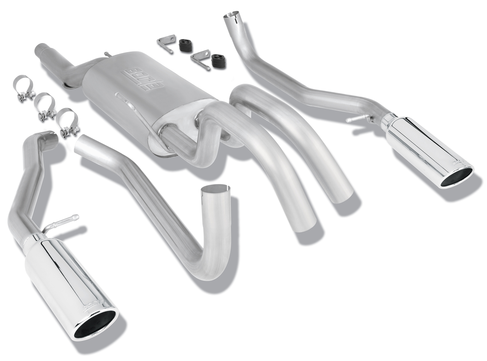 "Ford F150  2009-2010 Borla 2.5""/3"", 2.25"" Cat-Back Exhaust System - Single Round Rolled Angle-Cut  Long X Single Round Rolled Angle-Cut Intercooled"" Dia"