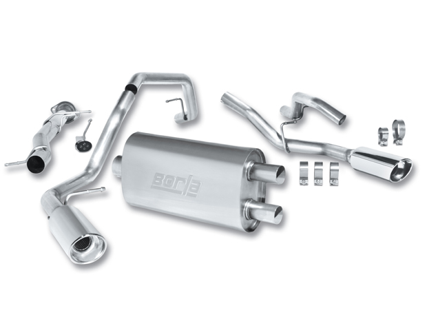 "Gmc Sierra Denali 2008-2009 Borla 3.5"", 2.25"" Cat-Back Exhaust System - Single Round Rolled Angle-Cut  Long X Single Round Rolled Angle-Cut Intercooled"" Dia"