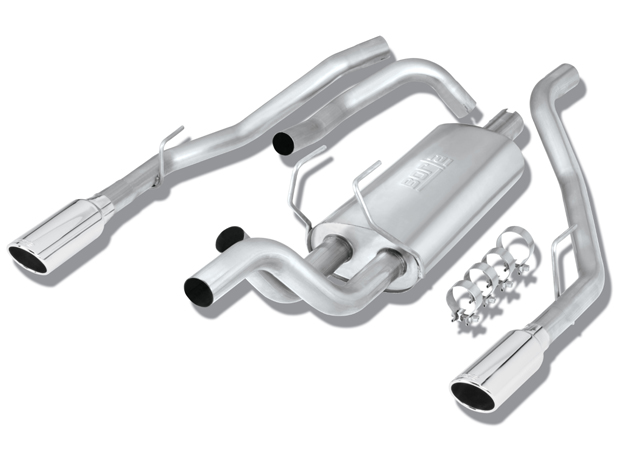 "Dodge Ram 1500 5.7l V8 2009-2011 Borla 3"", 2.5"" Cat-Back Exhaust System - Single Round Rolled Angle-Cut  Long X Single Round Rolled Angle-Cut Intercooled Tips"" Dia"