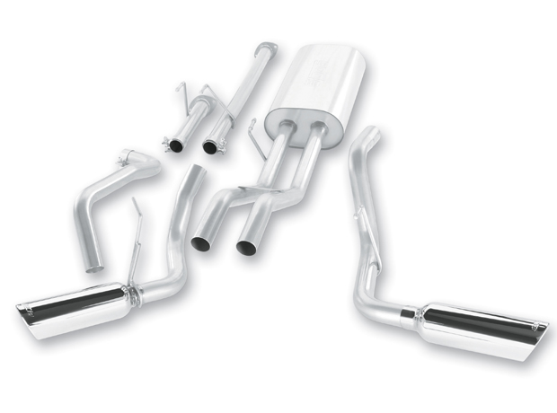 "Toyota Tundra  2009-2011 Borla 2.25"" Cat-Back Exhaust System - Single Round Rolled Angle-Cut  Long X Single Round Rolled Angle-Cut Intercooled"" Dia"
