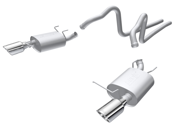 Ford Mustang  2011-2012 Borla 2.25&#34; Cat-Back Exhaust System &#34;touring&#34; - Single Round Rolled Angle-Cut  Long X Single Round Rolled Angle-Cut Intercooled&quot; Dia