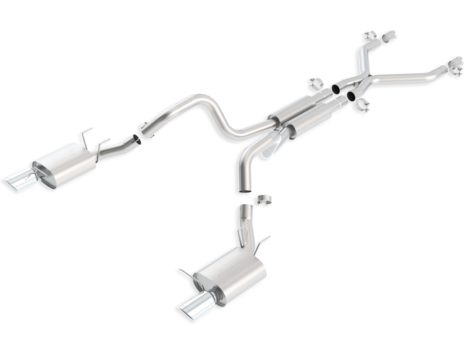Ford Mustang Shelby Gt 500 2011-2012 Borla 3&#34; Cat-Back Exhaust System - Single Round Rolled Angle-Cut  Long X Single Round Rolled Angle-Cut Intercooled&quot; Dia