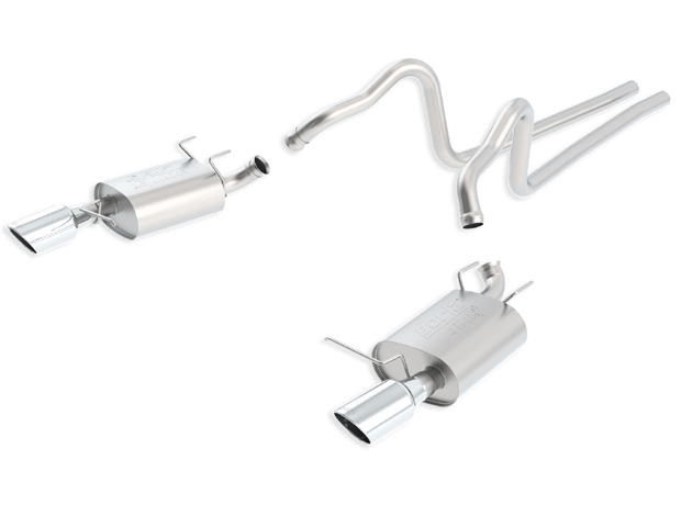 "Ford Mustang  2011-2012 Borla 2.25"" Cat-Back Exhaust System ""atak"" - Single Round Rolled Angle-Cut  Long X Single Round Rolled Angle-Cut Intercooled"" Dia"