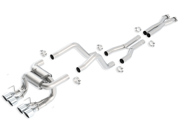 "Chevrolet Corvette Zo6/Zr1 7.0l/6.2l V8 2006-2012 Borla 3"", 2"" Cat-Back Exhaust System W/X-Pipe ""atak"" - Dual Round Rolled Angle-Cut Intercooled"