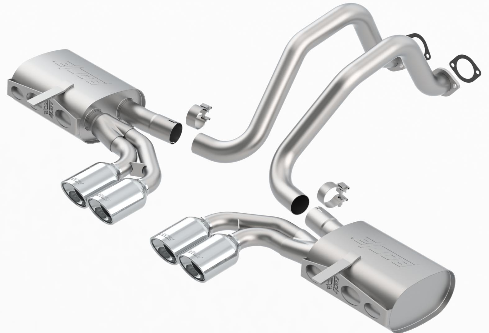 "Chevrolet Corvette C5/Z06 5.7l V8 1997-2004 Borla 2.5"", 2"" Cat-Back Exhaust System ""s-Type Ii"" - Dual Oval Rolled Angle-Cut"