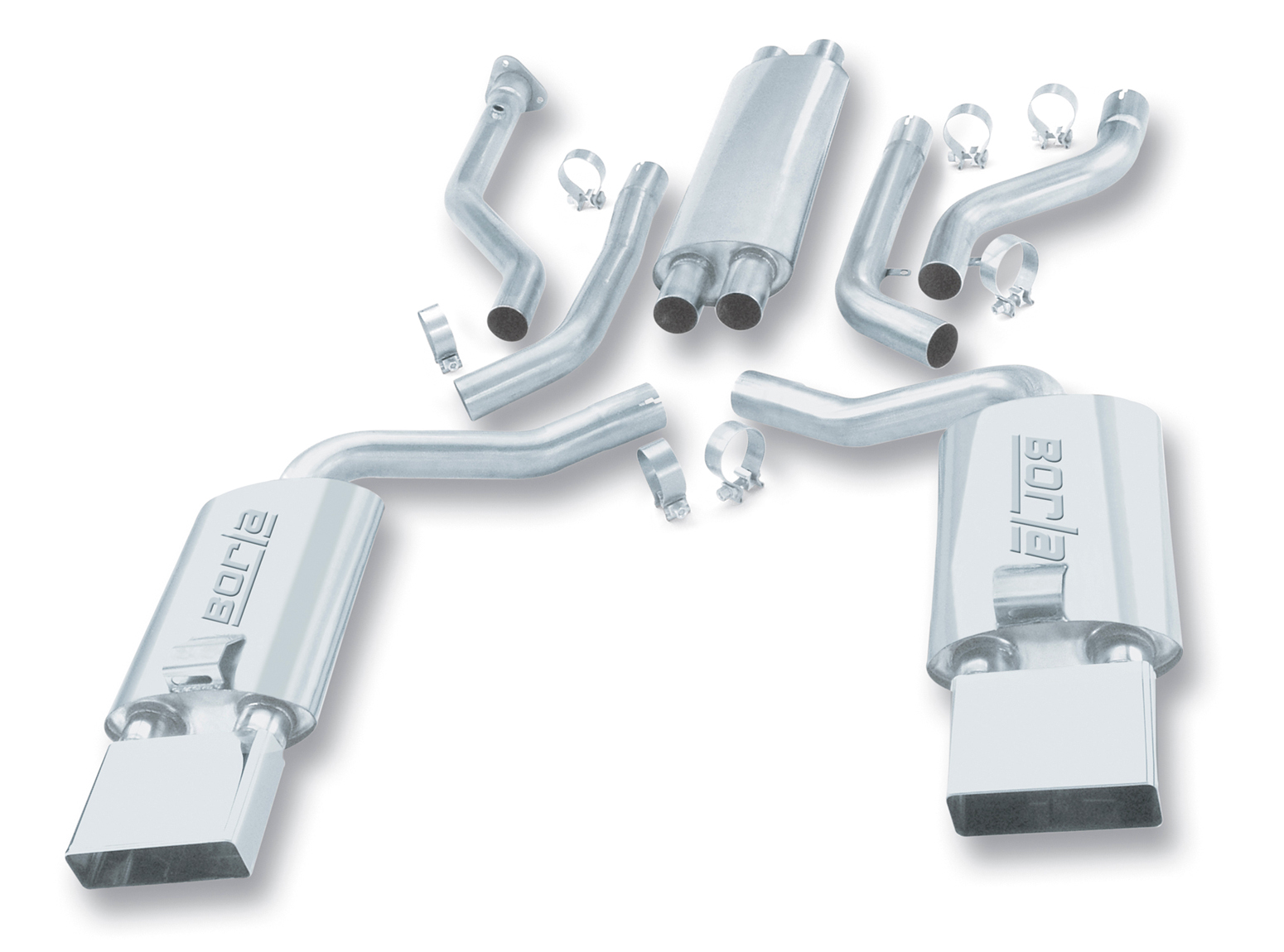 "Chevrolet Corvette C4 5.7l V8 1992-1996 Borla 2.5"" Cat-Back Exhaust System - Rectangle Lt-Single Round"