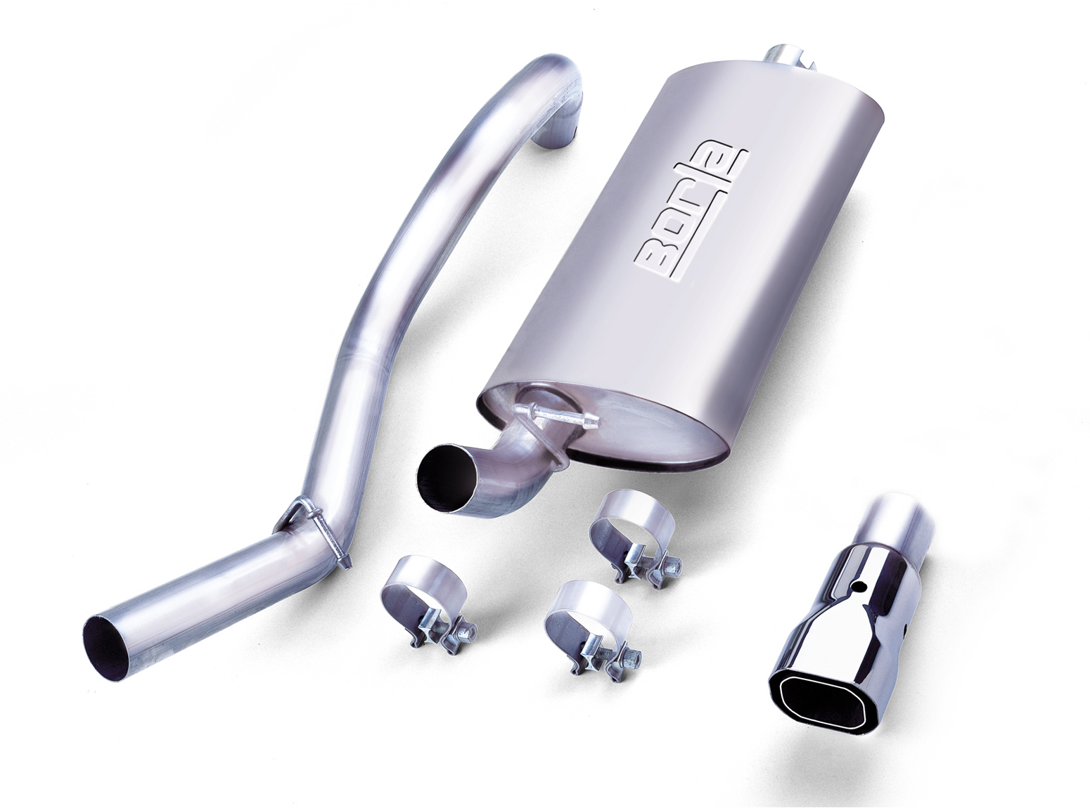 "Jeep Wrangler 2.5l 4cyl/4.0l 6cyl 1997-1999 Borla 2.25"" Cat-Back Exhaust System - Single Square Angle-Cut Phantom Tips"