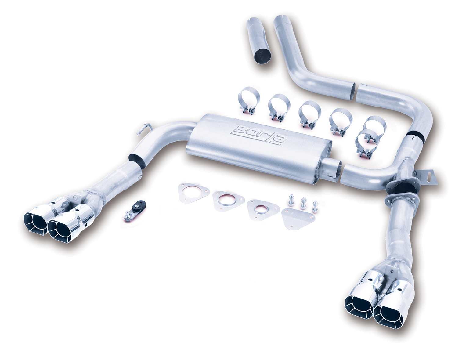 "Chevrolet Camaro 5.7l V8 1998-2002 Borla 3"" Cat-Back 3"" Adj Exhaust System - Dual Square Angle-Cut Intercooled"