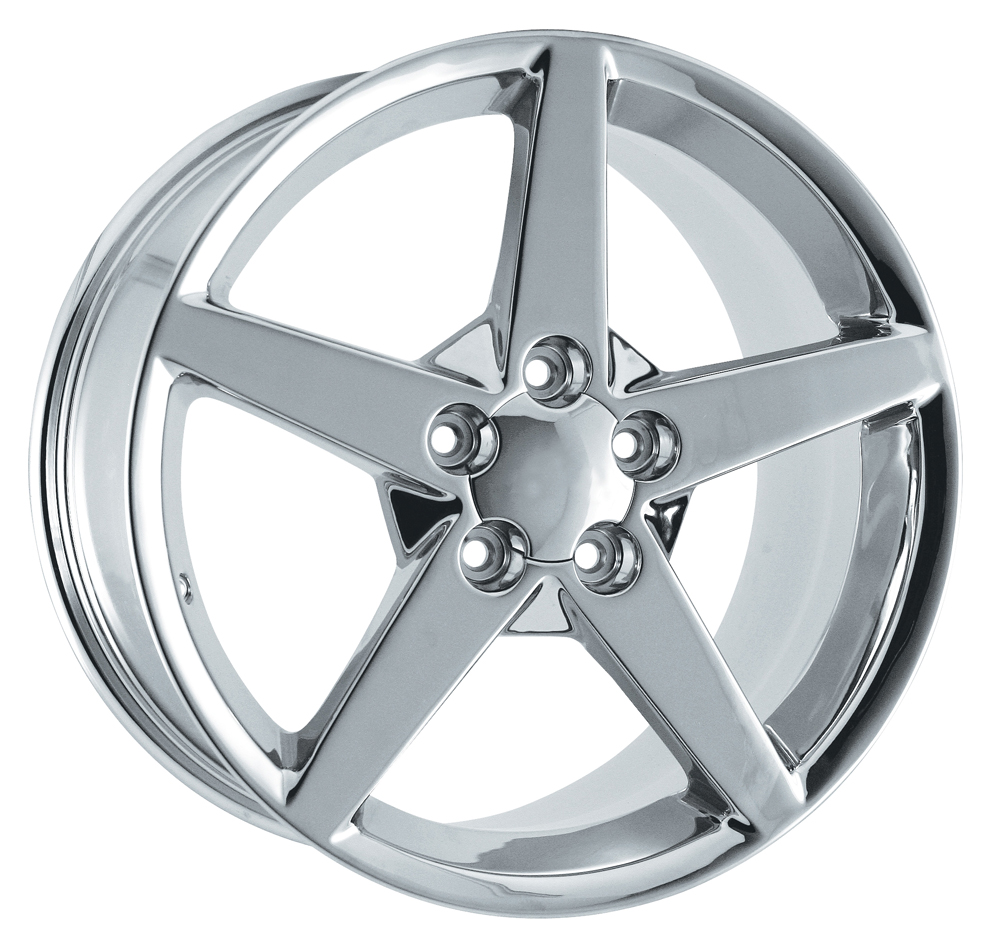 Chevrolet Corvette 1997-2005 17x9.5 5x4.75 +54 C6 Style Wheel - Chrome With Cap