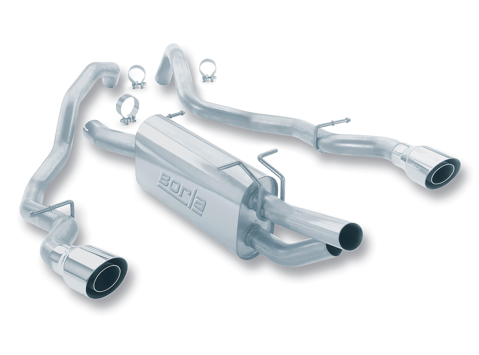 Ford Super Duty F-250/350 1999-2004 Borla 3&#34;, 2.5&#34; Cat-Back Exhaust System - Single Round Angle-Cut Phantom