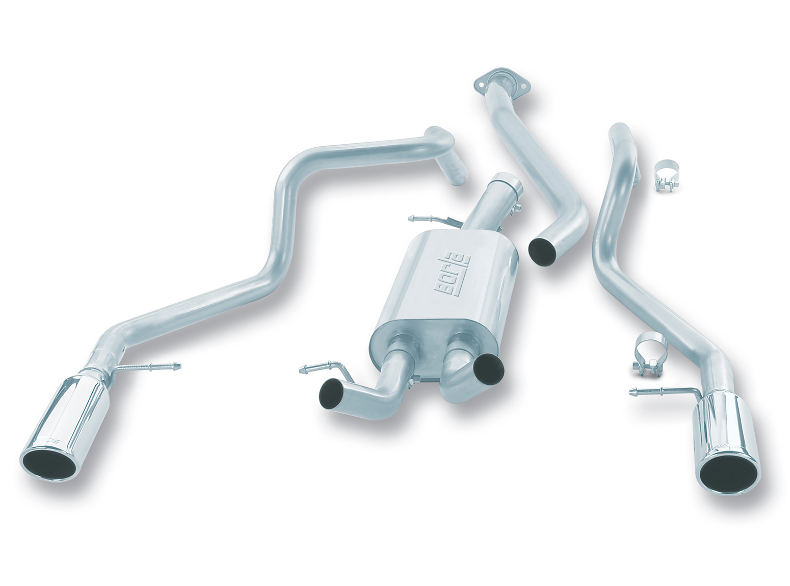 "Gmc Sierra 1500 1999-2007 Borla 3"", 2.25"" Cat-Back Exhaust System - Single Round Rolled Angle-Cut  Long X Single Round Rolled Angle-Cut Intercooled"" Dia"