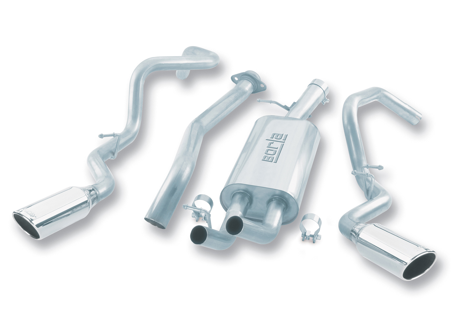 "Chevrolet Silverado 1500 1999-2007 Borla 3"", 2.25"" Cat-Back Exhaust System - Single Round Rolled Angle-Cut  Long X Single Round Rolled Angle-Cut Intercooled"" Dia"