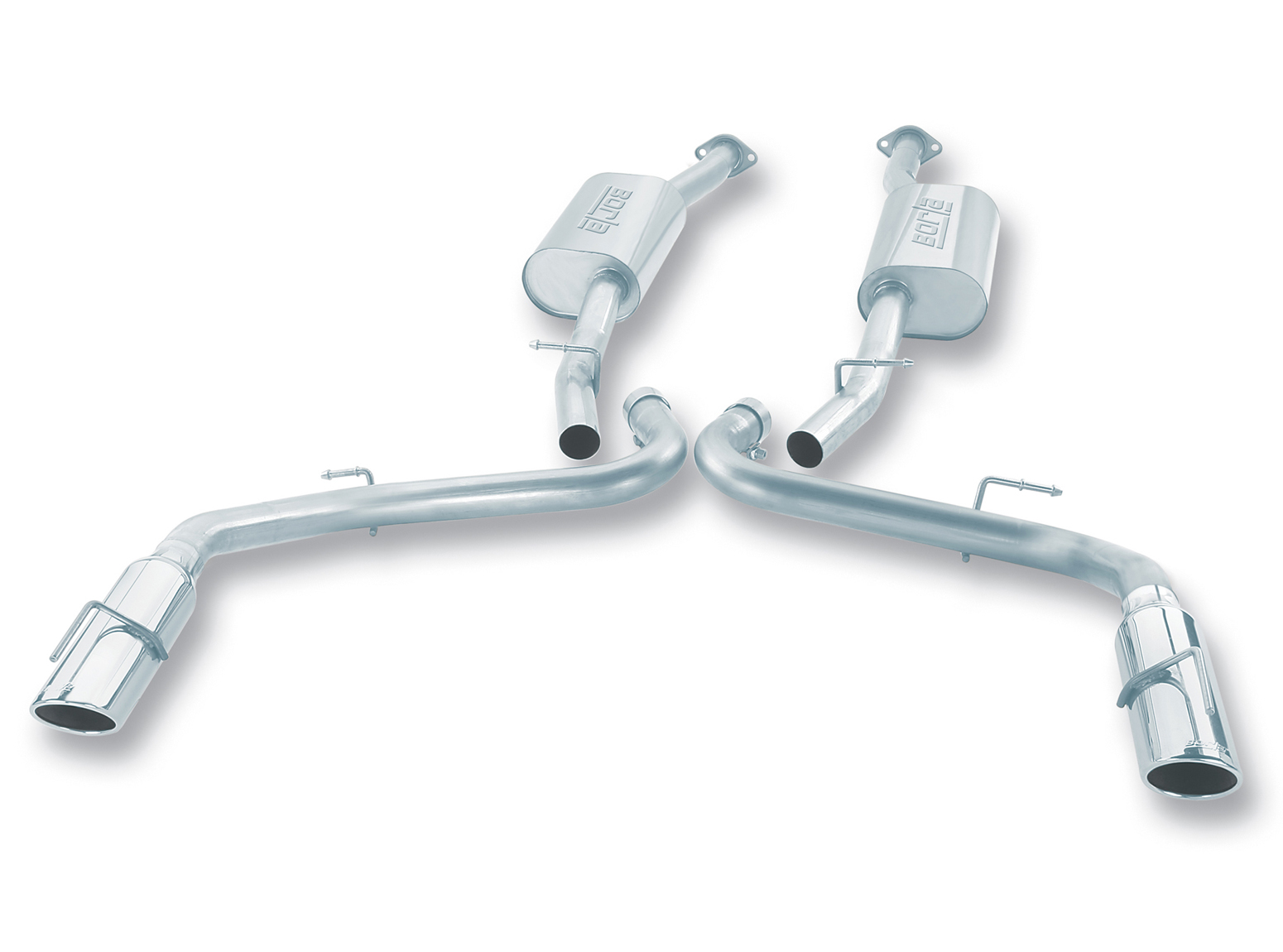 "Ford Mustang Cobra 1999-2004 Borla 2.5"" Cat-Back Exhaust System ""touring"" - Single Round Rolled Angle-Cut  Long X Single Round Rolled Angle-Cut Intercooled"" Dia"