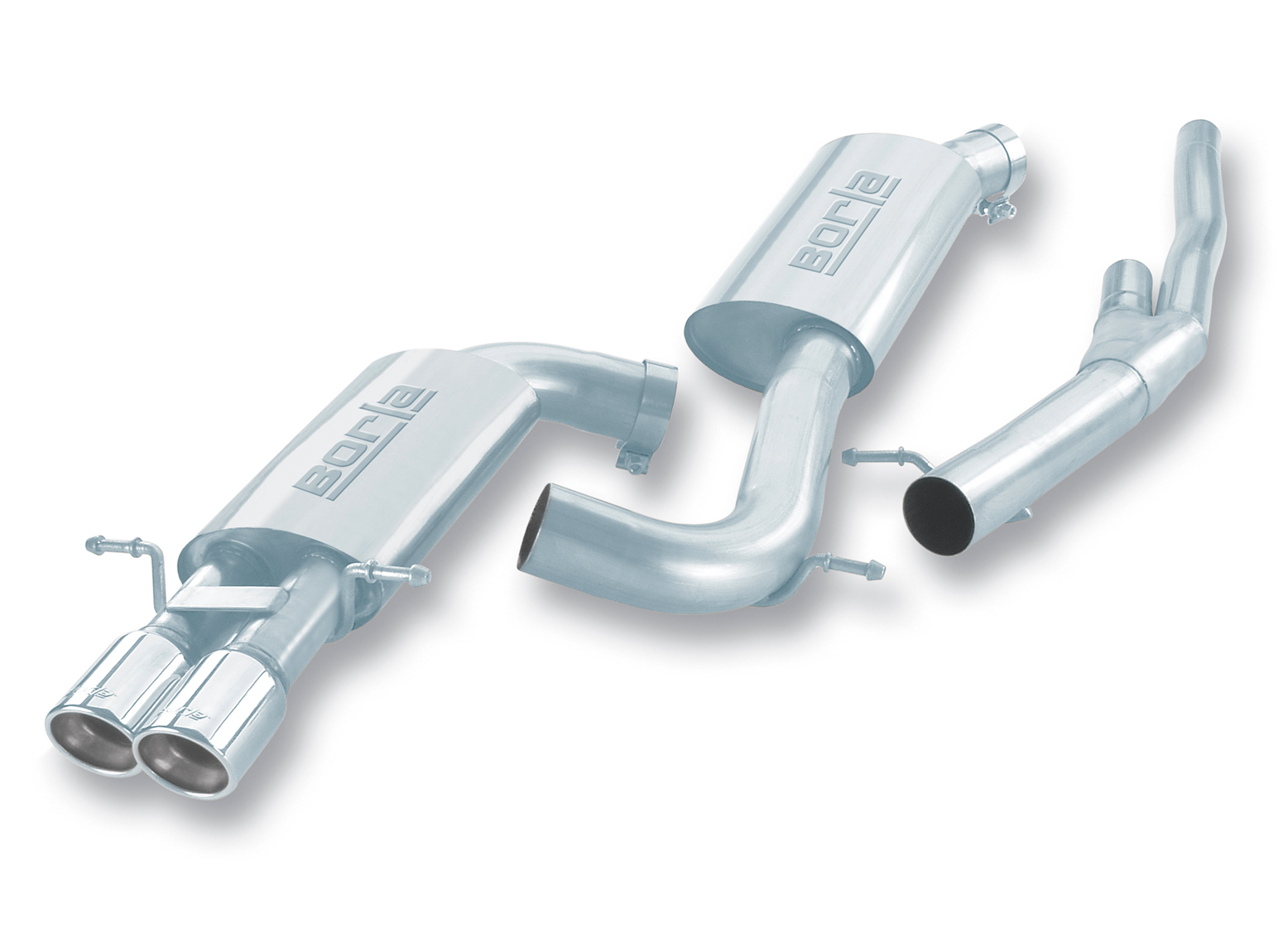"Audi S4 Quattro Twin Turbo 2000-2002 Borla 3"" Cat-Back Exhaust System - Dual Round Rolled Angle-Cut"