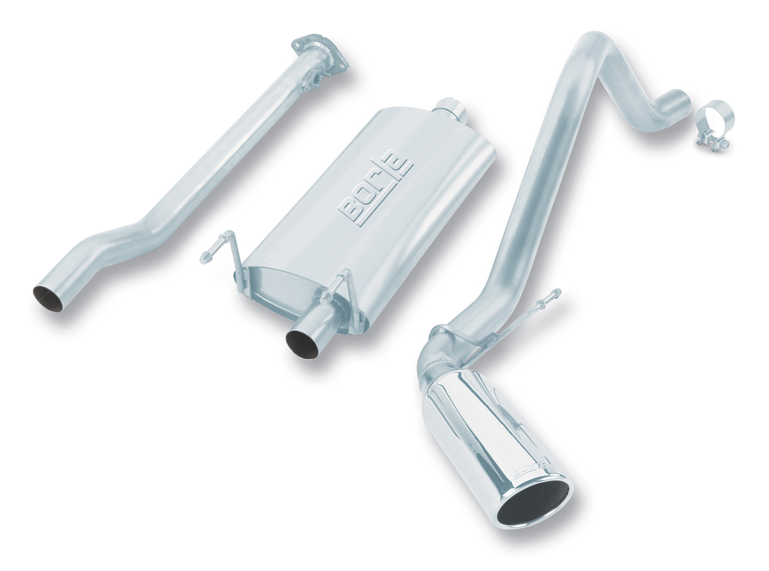 "Toyota Tacoma  2000-2003 Borla 2.25"" Cat-Back Exhaust System - Single Round Rolled Angle-Cut  Long X Single Round Rolled Angle-Cut Intercooled"" Dia"