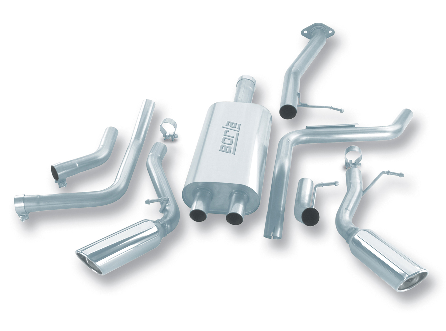 "Chevrolet Suburban 1500 2001-2003 Borla 3"", 2.25"" Cat-Back Exhaust System - Single Round Rolled Angle-Cut Lined Resonated"